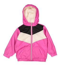 Girls 7-16 Sherpa Lined Color Block Windbreaker - 3637038340082