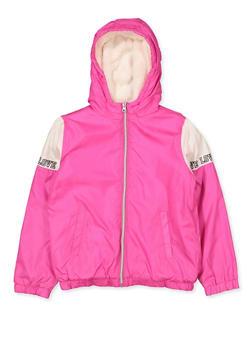 Girls 7-16 Color Block Love Sherpa Lined Windbreaker - 3637038340083