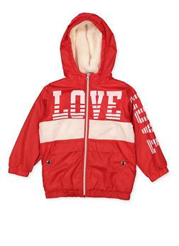 Girls 7-16 Love Sherpa Lined Windbreaker - 3637038340084