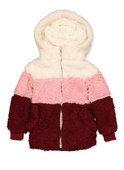 Girls 7-16 Hooded Color Block Sherpa Jacket - 3637038340085