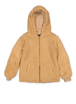 Girls 7-16 Hooded Sherpa Jacket - 3637038340086