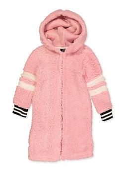 Girls 7-16 Long Hooded Sherpa Jacket - 3637038340087