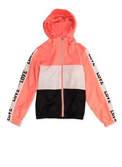 Girls 7-16 Color Block Love Hooded Windbreaker - 3637038340091