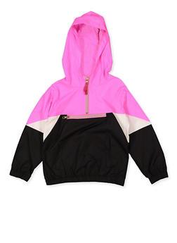 Girls 7-16 Color Block Half Zip Windbreaker - 3637038340093