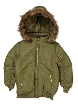 Girls 7-16 Long Hooded Bomber Jacket - 3637038340100