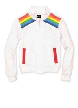 Girls 7-16 Rainbow Stripe Detail Track Jacket - 3637051060110