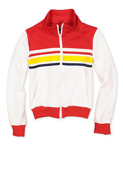 Girls 7-16 Stripe Detail Track Jacket - 3637051060112