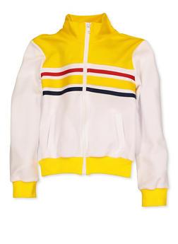 Girls 7-16 Color Blocked Stripe Detail Track Jacket - 3637051060113