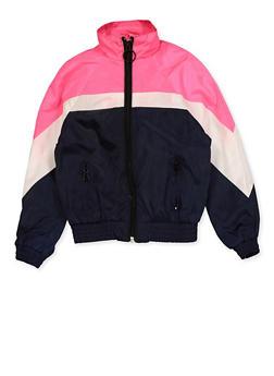 Girls 7-16 Color Block Windbreaker - 3637051060116
