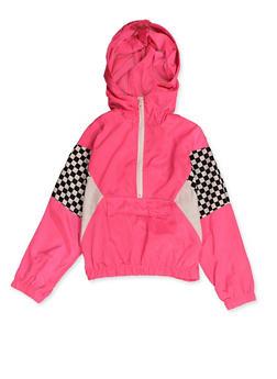 Girls 7-16 Checkered Trim Windbreaker - 3637051060117