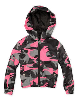 Girls 7-16 Hooded Camo Windbreaker - 3637051060119
