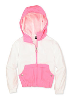 Girls 7-16 Color Block Zip Hooded Windbreaker - 3637051060120