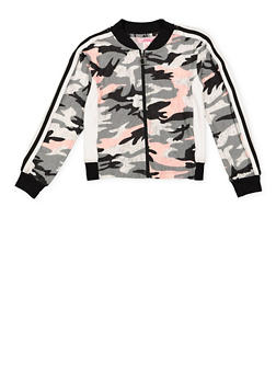Girls 7-16 Camo Soft Knit Track Jacket - 3637060580004