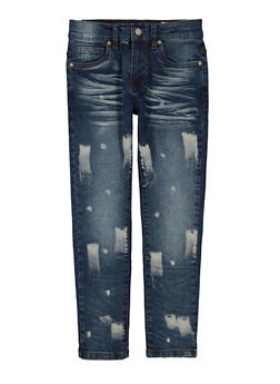 Girls Bleach Paint Brushed Jeans - 3720023130151
