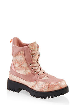 Girls 12-4 Snake Embossed Lace Up Boots - 3736028010003