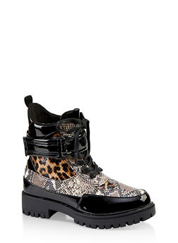 Girls 12-4 Color Block Printed Lace Up Booties - 3736028010005