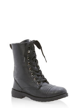 Girls 11-4 Faux Leather Combat Boots - 3736057260078