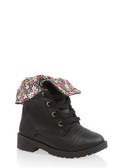 Girls 5-10 Floral Lined Combat Boots - 3736057260105