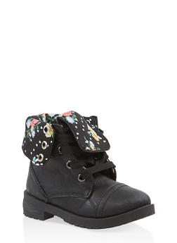 Girls 5-10 Floral Lined Combat Boots - 3736057260106
