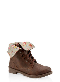Girls 5-10 Floral Lined Combat Boots - 3736057260107