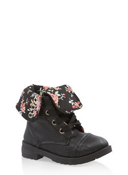 Girls 5-10 Floral Lined Combat Boots - 3736057260108