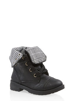Girls 5-10 Plaid Lined Combat Boots - 3736057260109