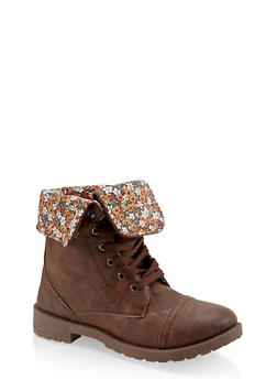 Girls 11-4 Floral Lined Combat Boots - 3736057260110