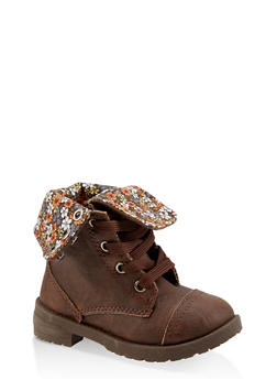 Girls 11-4 Floral Lined Combat Boots - 3736057260112