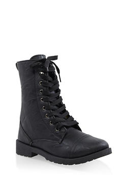 Girls 11-4 Floral Lined Combat Boots - 3736057260113