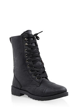 Girls 11-4 Floral Lined Combat Boots - 3736057260115