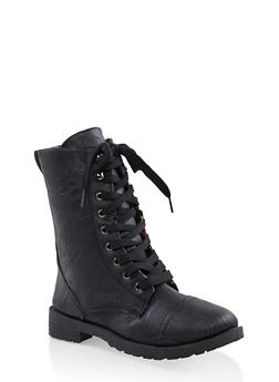 Girls 11-4 Floral Lined Combat Boots - 3736057260117