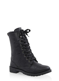 Girls 11-4 Plaid Lined Combat Boots - 3736057260118