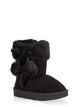 Girls 5-10 Faux Fur Pom Pom Boots - 3736057260136
