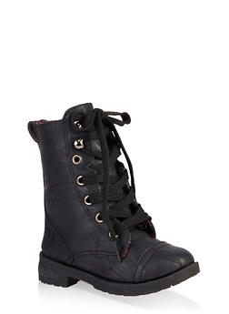 Girls 5-10 Plaid Lined Combat Boots - 3736057260137