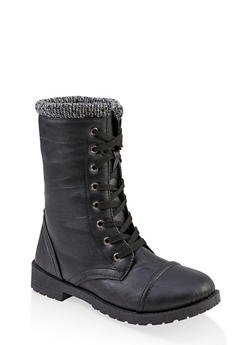 Girls 11-4 Knit Cuff Combat Boots - 3736057260138