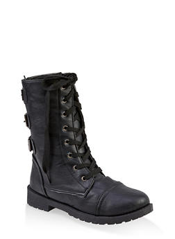Girls 11-4 Buckle Back Combat Boots - 3736057260139