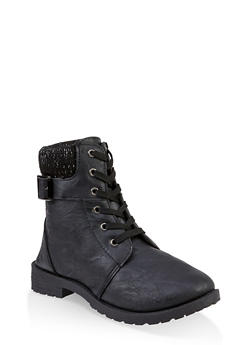 Girls 11-4 Lurex Knit Cuff Combat Boots - 3736057260140