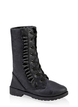 Girls 11-4 Pleated Trim Combat Boots - 3736057260142