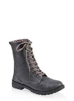 Girls 11-4 Lace Up Combat Boots - 3736057260143