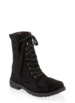 Girls 11-4 Floral Lined Faux Suede Combat Boots - 3736057260144