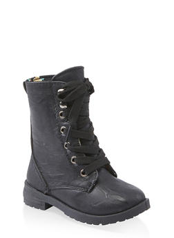 Girls 5-10 Print Lined Combat Boots - 3736057260148