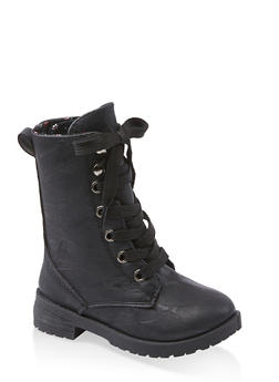 Girls 5-10 Faux Leather Lace Up Combat Boots - 3736057260149