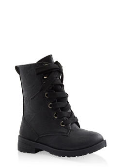 Girls 5-10 Flower Lined Combat Boots - 3736057260150