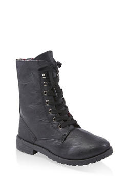 Girls 5-10 Floral Lined Lace Up Combat Boots - 3736057260153