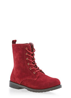 Girls 10-4 Faux Suede Combat Boots - 3736061120030