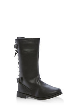 Girls 10-4 Faux Leather Back Lace Up Boots - 3736061120051