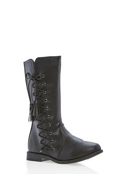 Girls 10-4 Faux Leather Lace Up Tassel Boots - 3736061120056