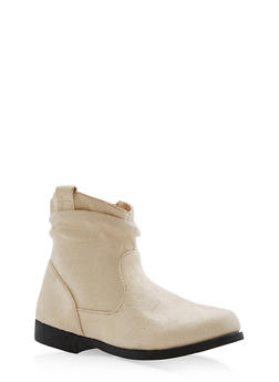 Girls 10-4 Faux Suede Ruched Booties - 3736061120057