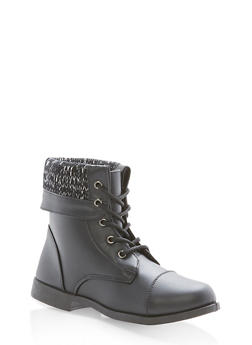 Girls 10-4 Fold Over Sweater Combat Boots - 3736061120059