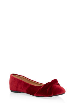Infant 1-4 Knotted Velvet Flats - WINE - 3736061120061